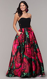 Image of strapless long black formal dress with floral print. Style: BN-1191BN Front Image