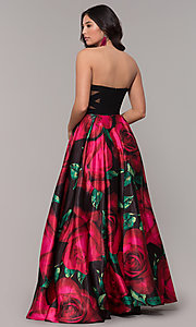 Image of strapless long black formal dress with floral print. Style: BN-1191BN Back Image