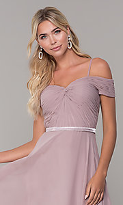 Image of off-the-shoulder ruched-bodice long mauve prom dress. Style: FB-PL-GL9002 Detail Image 1