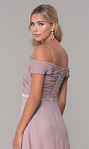 Image of off-the-shoulder ruched-bodice long mauve prom dress. Style: FB-PL-GL9002 Detail Image 2