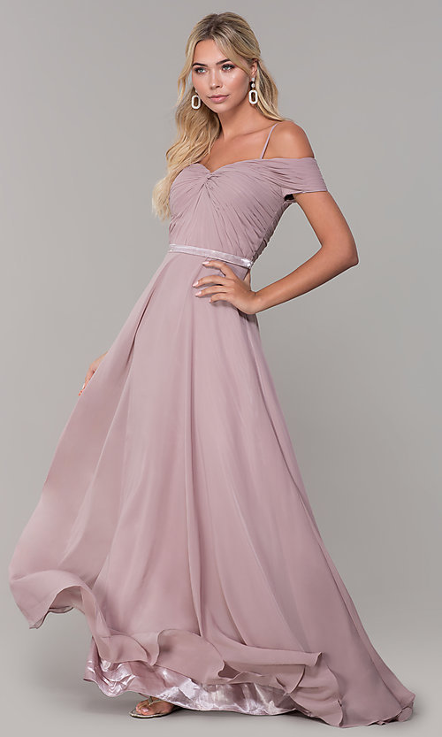 Image of off-the-shoulder ruched-bodice long mauve prom dress. Style: FB-PL-GL9002 Front Image