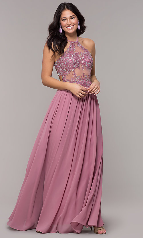 Image of long rose pink chiffon prom dress with embroidery. Style: BN-169BN1 Front Image