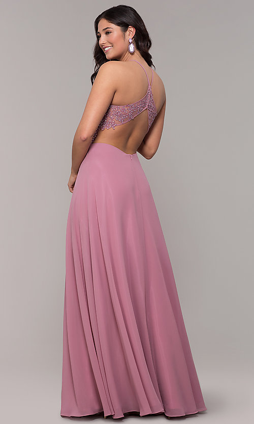 Image of long rose pink chiffon prom dress with embroidery. Style: BN-169BN1 Back Image