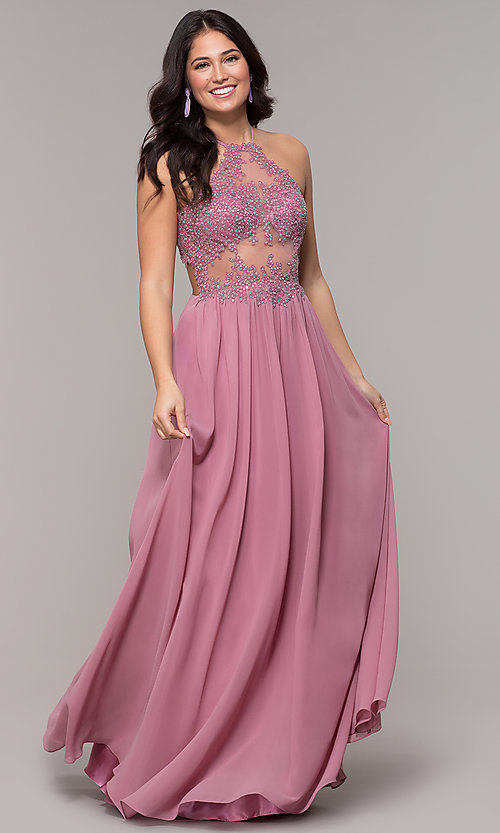 Image of long rose pink chiffon prom dress with embroidery. Style: BN-169BN1 Detail Image 3