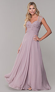 Image of ruched-bodice long mauve chiffon formal dress. Style: FB-PL-GL9001 Front Image