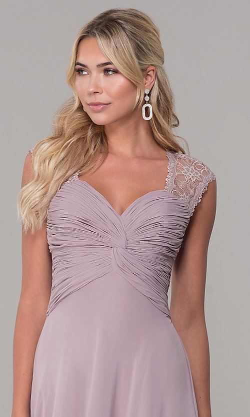 Image of ruched-bodice long mauve chiffon formal dress. Style: FB-PL-GL9001 Detail Image 1