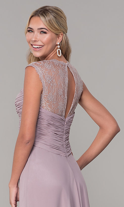 Image of ruched-bodice long mauve chiffon formal dress. Style: FB-PL-GL9001 Detail Image 2