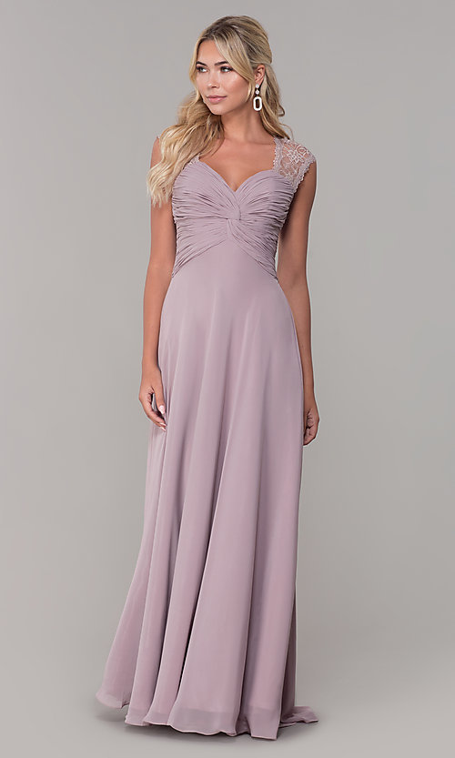 Image of ruched-bodice long mauve chiffon formal dress. Style: FB-PL-GL9001 Detail Image 3
