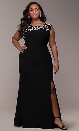 Plus-Size Long Embroidered Bodice Prom Dress