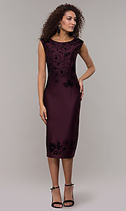 Image of purple knee-length wedding guest dress. Style: IT-9195101 Detail Image 3
