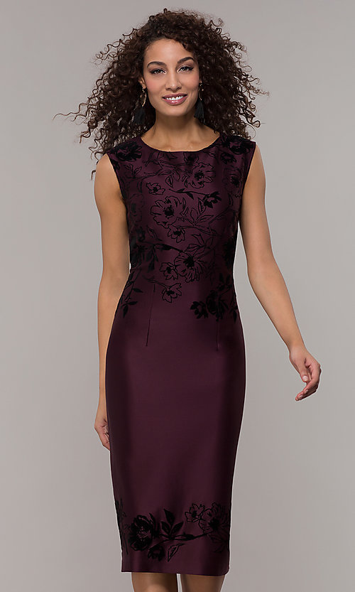 Image of purple knee-length wedding guest dress. Style: IT-9195101 Front Image