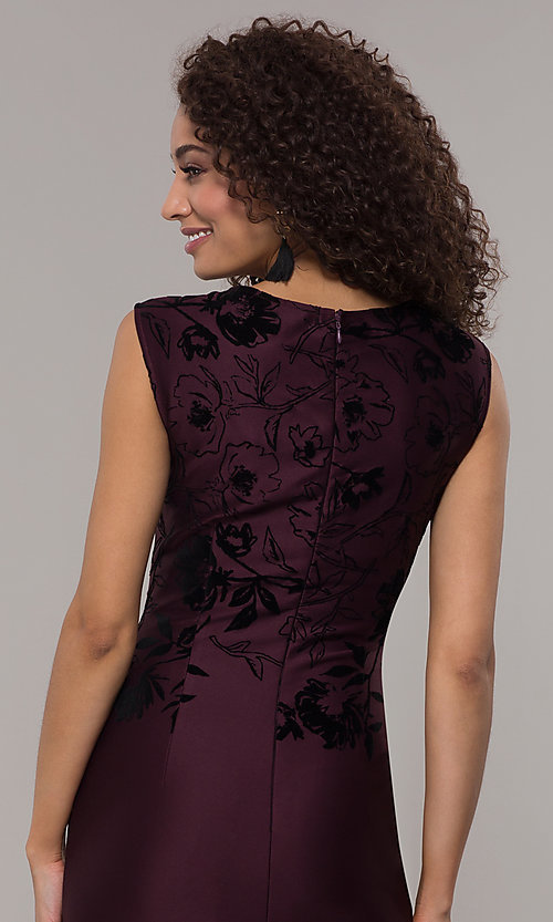 Image of purple knee-length wedding guest dress. Style: IT-9195101 Detail Image 2