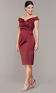 Image of mother-of-the-bride burgundy party dress in satin. Style: IT-7148102 Front Image
