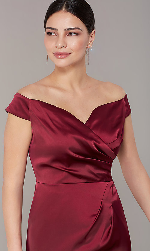 Image of mother-of-the-bride burgundy party dress in satin. Style: IT-7148102 Detail Image 1