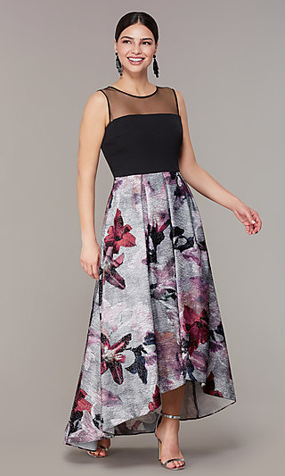 High-Low MOB Dress with Floral-Print Skirt
