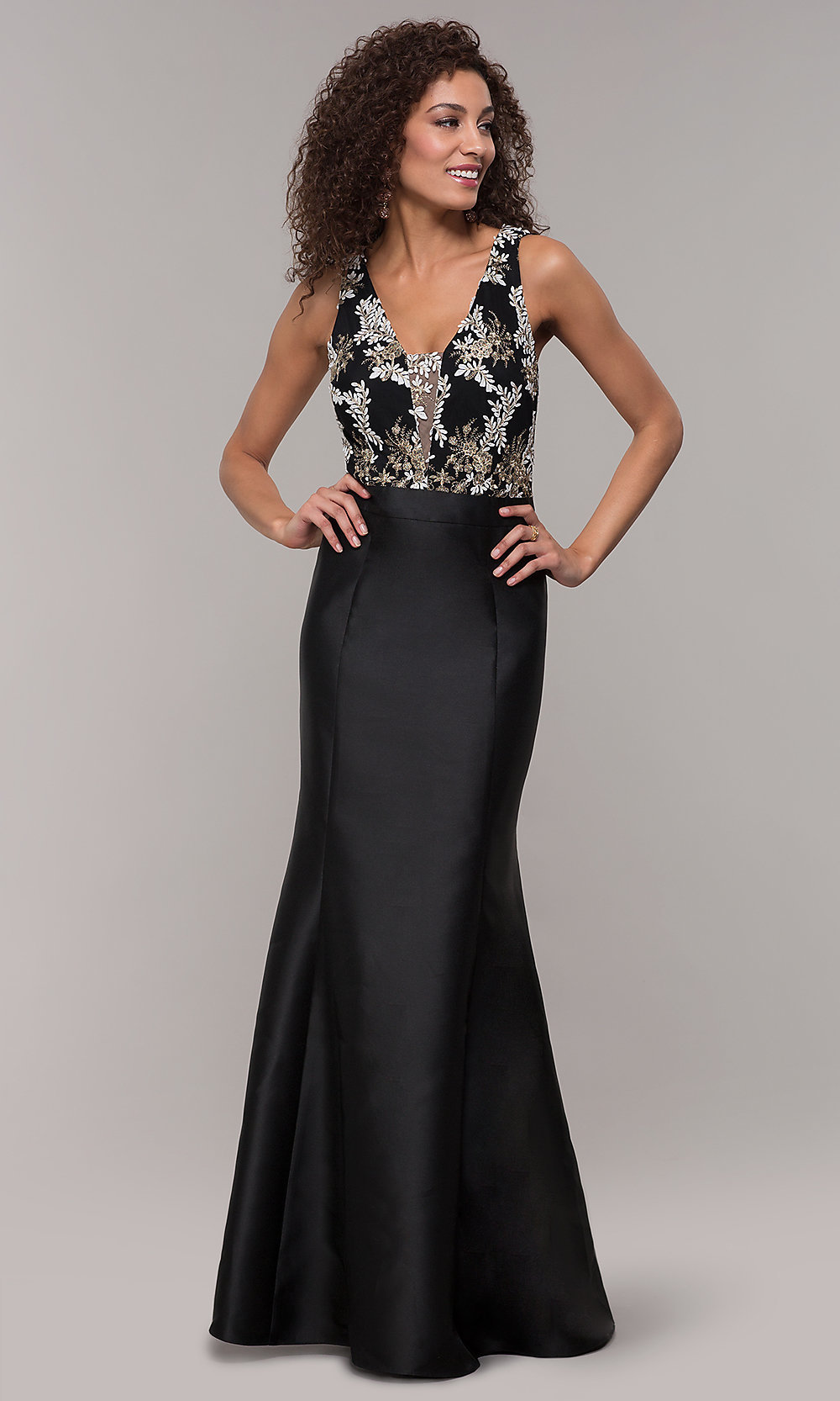 Long Embroidered V-Neck Prom Dress with Tulle Skirt