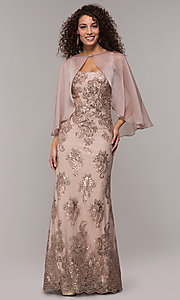 Image of sequin-embroidered long formal dress with cape. Style: IT-7120171 Detail Image 3