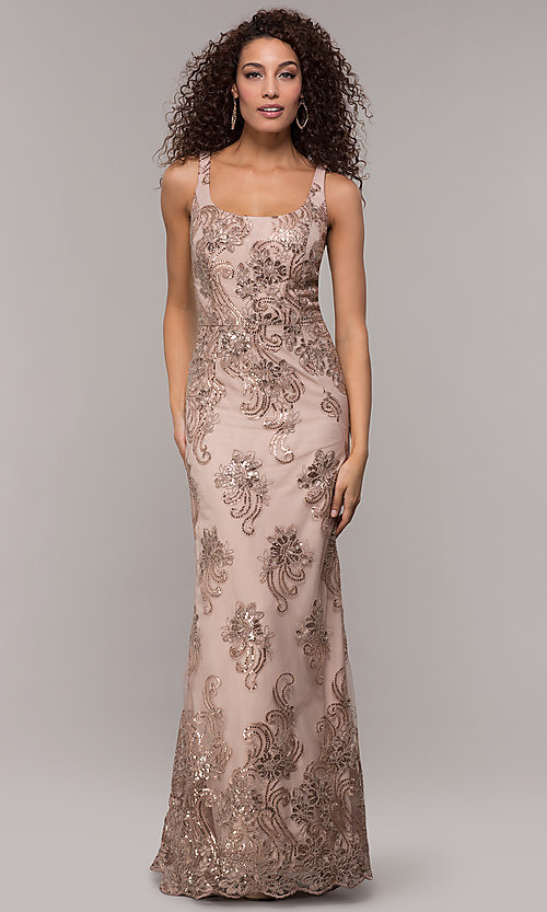 Image of sequin-embroidered long formal dress with cape. Style: IT-7120171 Front Image