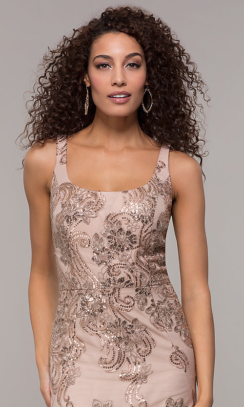 Image of sequin-embroidered long formal dress with cape. Style: IT-7120171 Detail Image 1