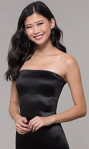 Image of strapless sheath knee-length holiday party dress. Style: KIM-D2409 Detail Image 1