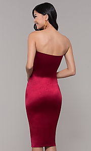 Image of strapless sheath knee-length holiday party dress. Style: KIM-D2409 Detail Image 5
