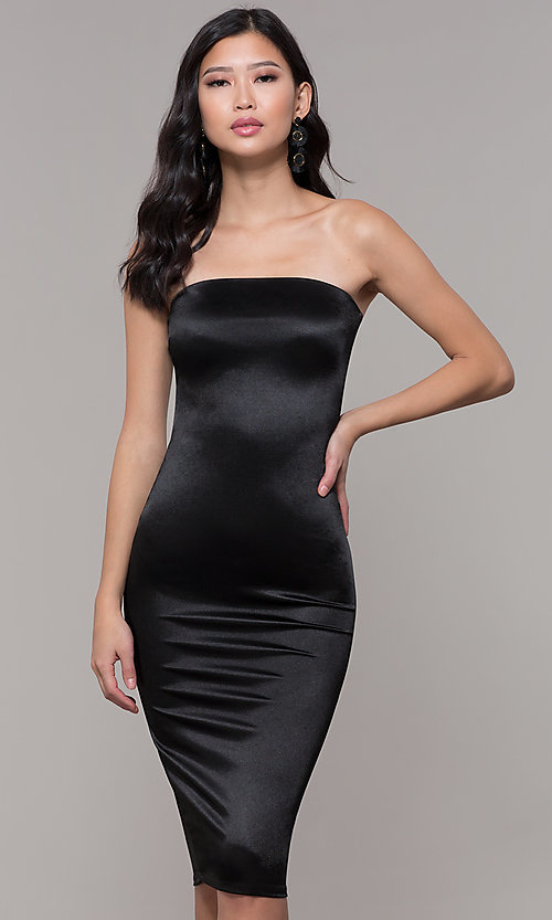 Image of strapless sheath knee-length holiday party dress. Style: KIM-D2409 Front Image