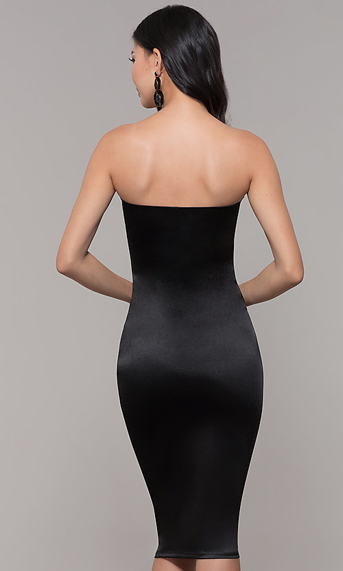 Image of strapless sheath knee-length holiday party dress. Style: KIM-D2409 Back Image