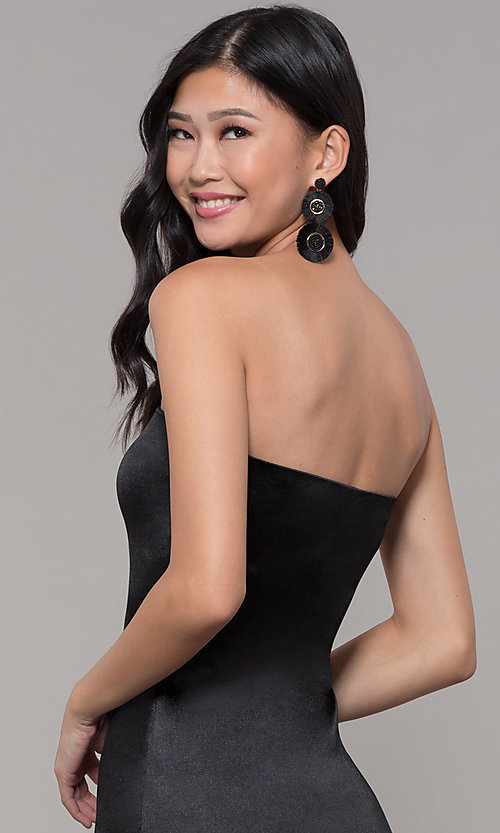 Image of strapless sheath knee-length holiday party dress. Style: KIM-D2409 Detail Image 2