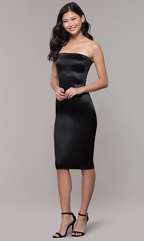 Image of strapless sheath knee-length holiday party dress. Style: KIM-D2409 Detail Image 3