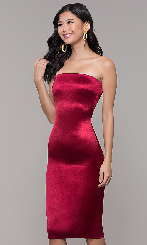 Image of strapless sheath knee-length holiday party dress. Style: KIM-D2409 Detail Image 4