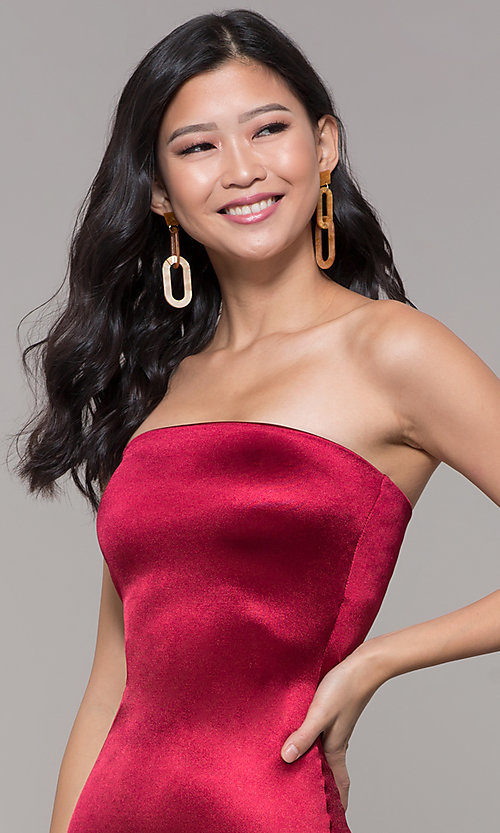 Image of strapless sheath knee-length holiday party dress. Style: KIM-D2409 Detail Image 6