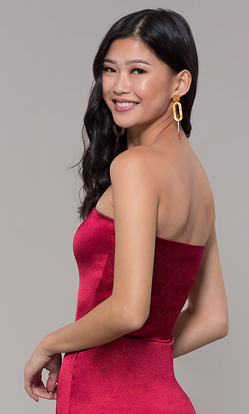 Image of strapless sheath knee-length holiday party dress. Style: KIM-D2409 Detail Image 7