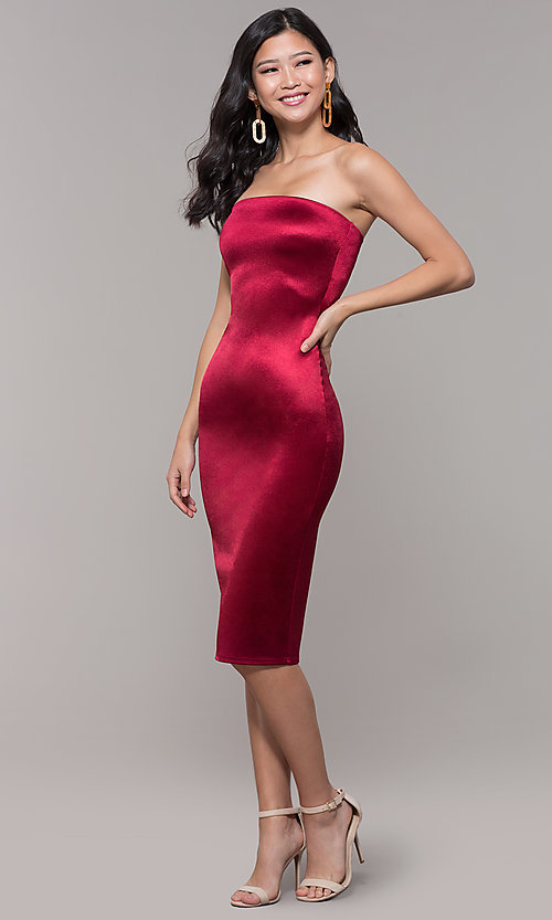 Image of strapless sheath knee-length holiday party dress. Style: KIM-D2409 Detail Image 8