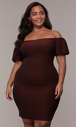 1eddcbf6643 Plus-Size Short-Sleeve Off-Shoulder Party Dress