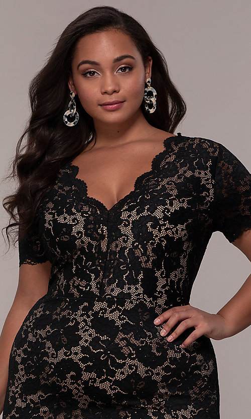 Image of floral-lace short-sleeve plus short party dress. Style: KIM-D23599B Detail Image 1