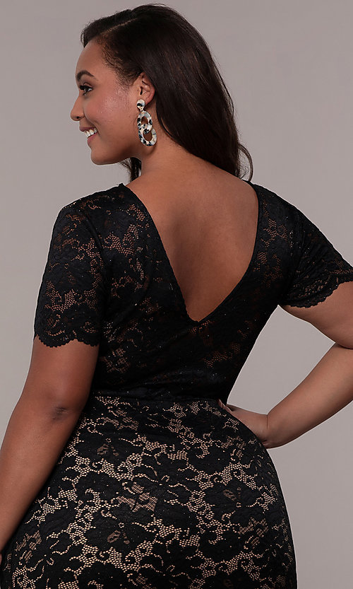 Image of floral-lace short-sleeve plus short party dress. Style: KIM-D23599B Detail Image 2