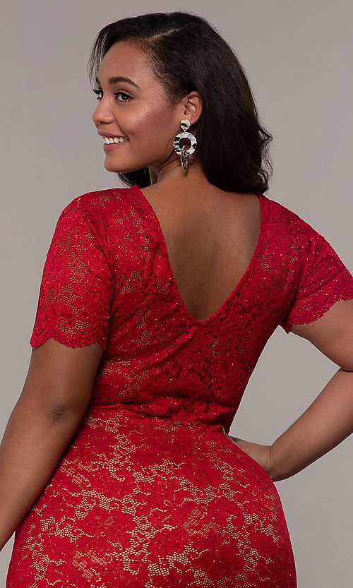 Image of floral-lace short-sleeve plus short party dress. Style: KIM-D23599B Detail Image 7