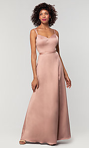 Image of long Kleinfeld bridesmaid dress with side slit. Style: KL-200138 Detail Image 7