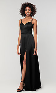Image of long Kleinfeld bridesmaid dress with side slit. Style: KL-200138 Detail Image 8