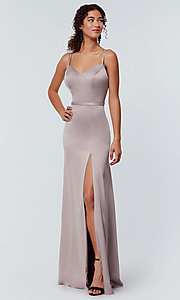 Image of long Kleinfeld bridesmaid dress with side slit. Style: KL-200138 Detail Image 1
