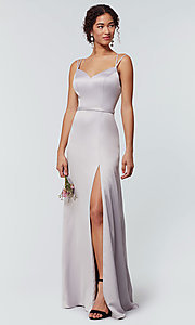 Image of long Kleinfeld bridesmaid dress with side slit. Style: KL-200138 Detail Image 5