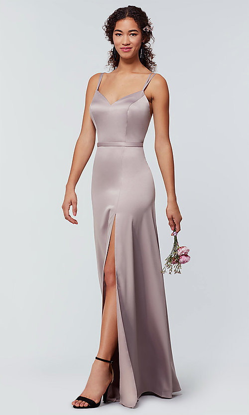 Image of long Kleinfeld bridesmaid dress with side slit. Style: KL-200138 Detail Image 2