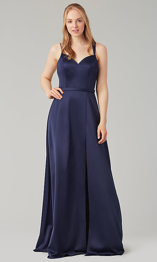 Image of long Kleinfeld bridesmaid dress with side slit. Style: KL-200138 Front Image