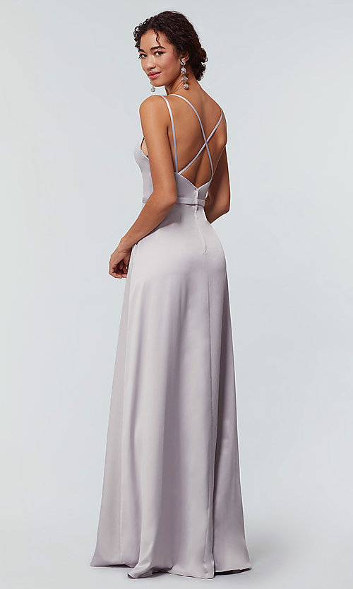 Image of long Kleinfeld bridesmaid dress with side slit. Style: KL-200138 Detail Image 6