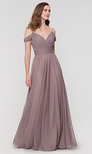 Beaded-Strap Long Bridesmaid Dress by Kleinfeld