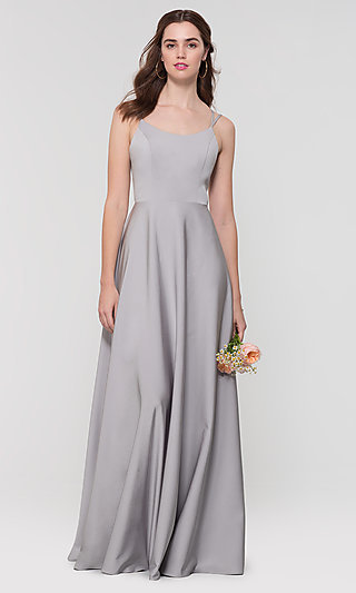 Long Formal Kleinfeld Corset-Back Bridesmaid Dress