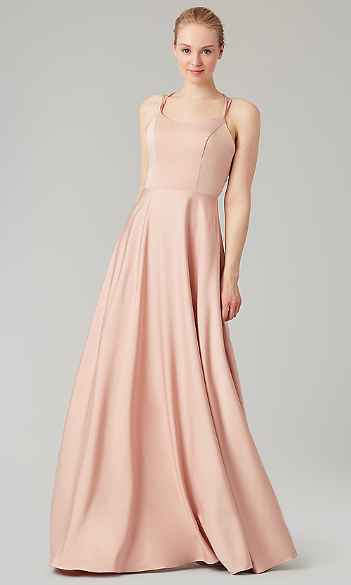Image of long formal Kleinfeld corset-back bridesmaid dress. Style: KL-200151 Front Image