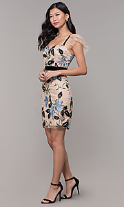 Image of floral-embroidered short nude wedding-guest dress. Style: MD-D16013CVK Detail Image 3