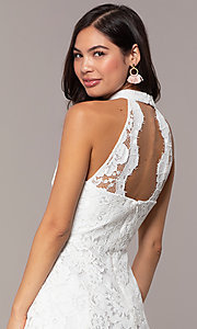 Image of white lace high-neck short graduation party dress. Style: DMO-J323857 Detail Image 2
