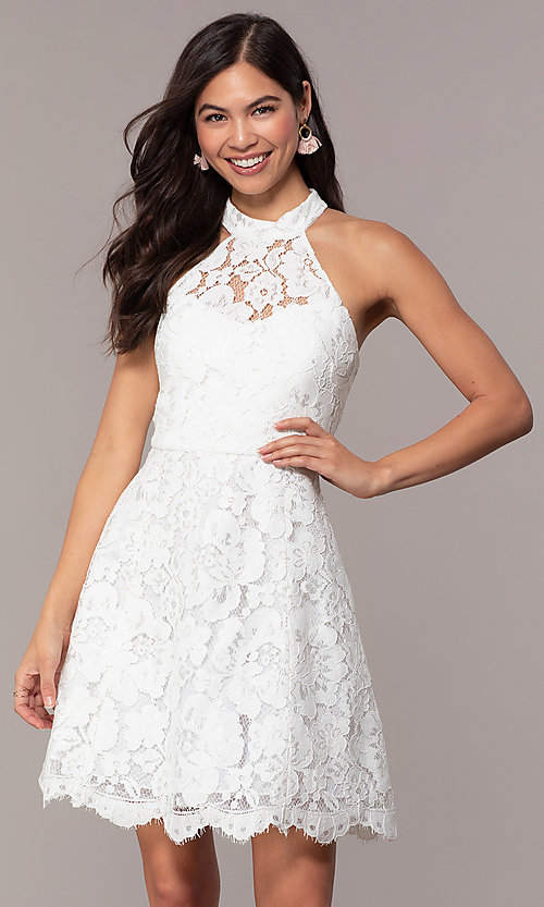 Image of white lace high-neck short graduation party dress. Style: DMO-J323857 Front Image